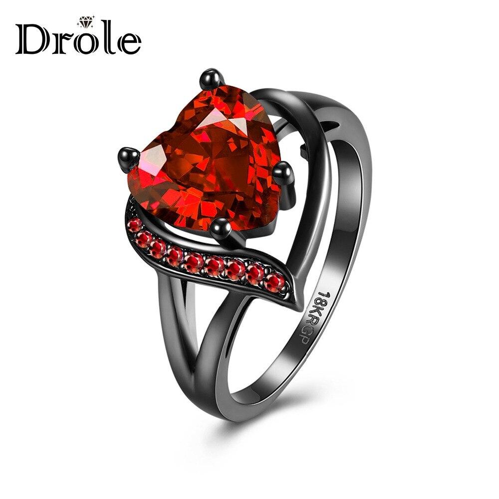 DROLE 2 colores Vintage CZ anillo de boda moda amor corazón negro anillo de la joyería de las mujeres