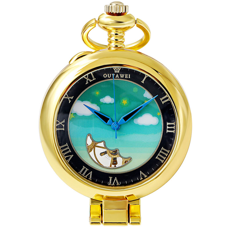 Vintage Mechanical Pocket Watch Gold Blue Sky Steampunk Men Fob Hand Watch Necklace With Chain For Men Women Gift Box vintage watch necklace steampunk skeleton mechanical fob pocket watch clock pendant hand winding men women chain gift