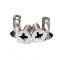 100pcs/Lot GB819 M6x12 mm M6*12 mm 304 Stainless Steel flat head cross Countersunk head screw