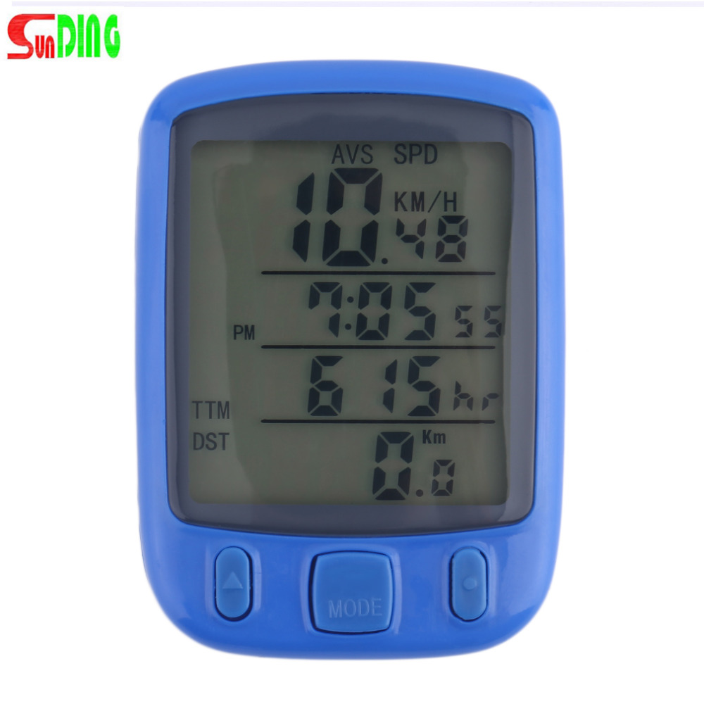 1 pz SunDing SD 563B Impermeabile Display LCD Bicicletta Della Bici Tachimetro Dell'odometro Del Calcolatore con Retroilluminazione Verde