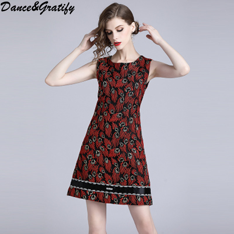 High Quality Luxury Jacquard Flame Vintage Party Dress Women 2018 Autumn Casual Sleeveless Mini Short Office Work Dress
