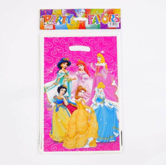 20pcs/lot Princess Theme Party Gift Bag Party Decoration Plastic Candy Bag Loot Bag For Kids Festival Party Supplies