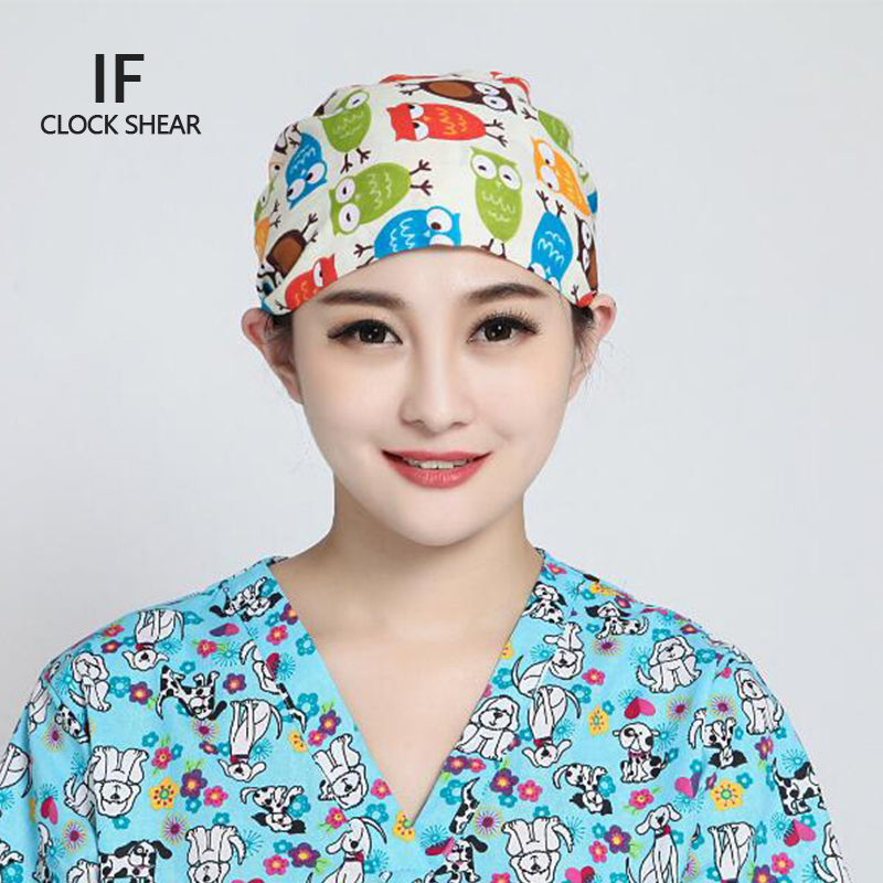 IF new Pet doctor hat men and women beauty salon work cap Operating room hat doctor nurse dental cotton printing