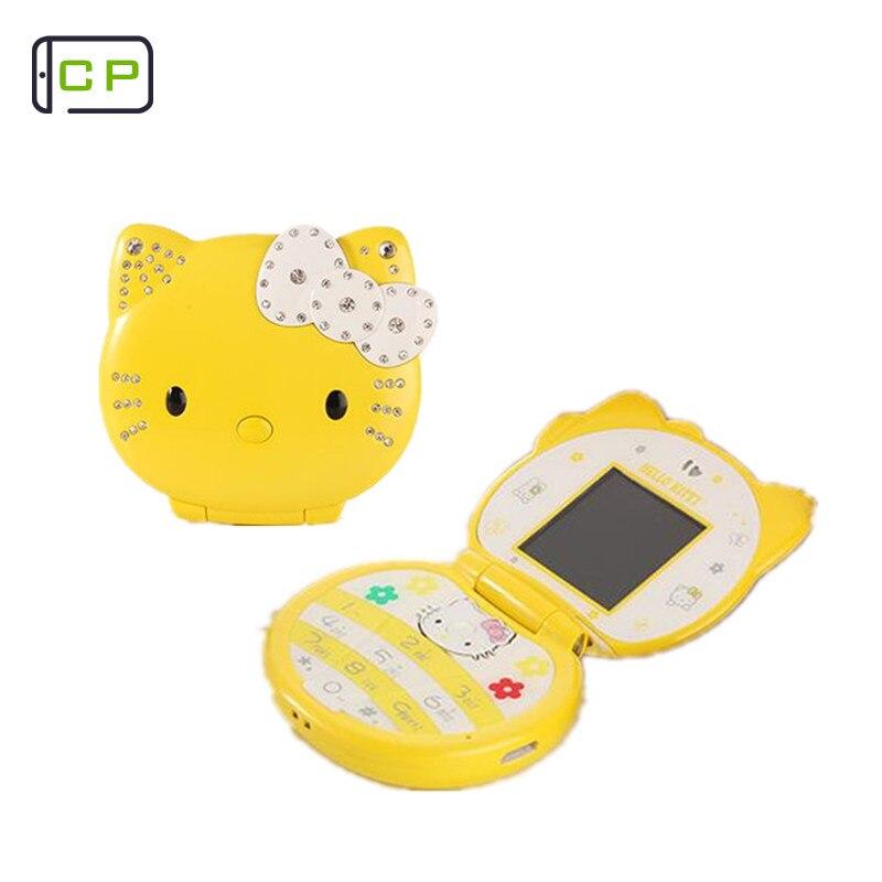 KUH T99 Cute Mini Cell Mobile Phone Cute Lovely Cartoon Flip Phone Cat Small Women Kids Girls Diamond FM Bluetooth Dialer mobile phone