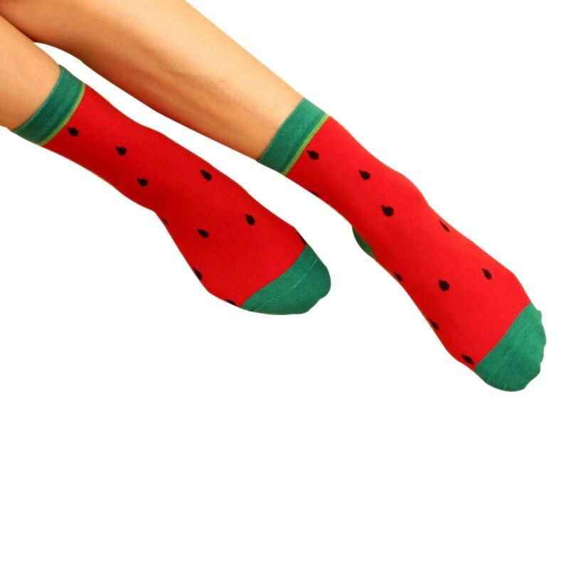 Женские утепленные хлопковые носки; сезон весна-осень-зима; высококачественные носки с принтом из фруктов для женщин, девочек, дам ...
