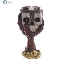 3D Skull Home Stainless Steel Wolf Goblet EZESO Resin 3D Coffee Cup Stainless Steel Tea Dropshiping18Nov14(China)