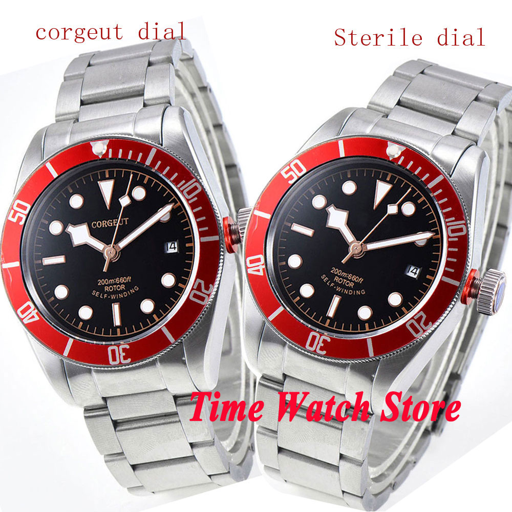 Buy corgeut 41mm men 39 s watch black dial luminous sapphire glass blue bezel for Men decagonal bezel bracelet