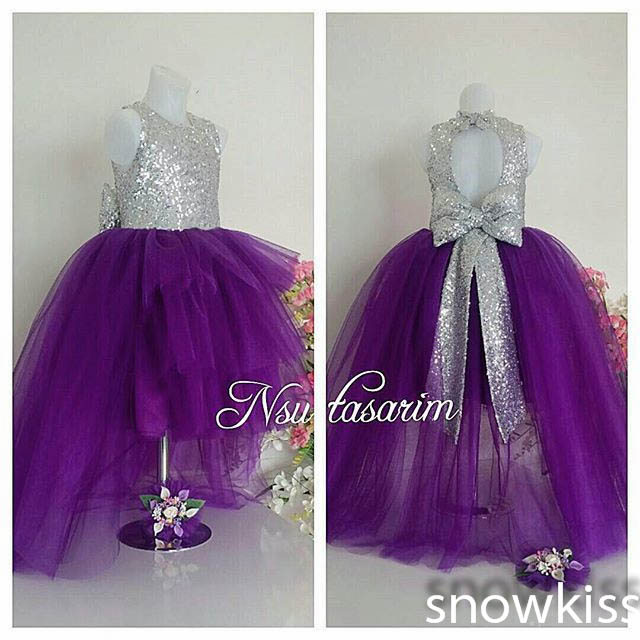 цена на 2016 Bling Key-Hole Back Purple flower girl dresses with Bow baby Birthday Party Dress toddler girl pageant dress ball gowns