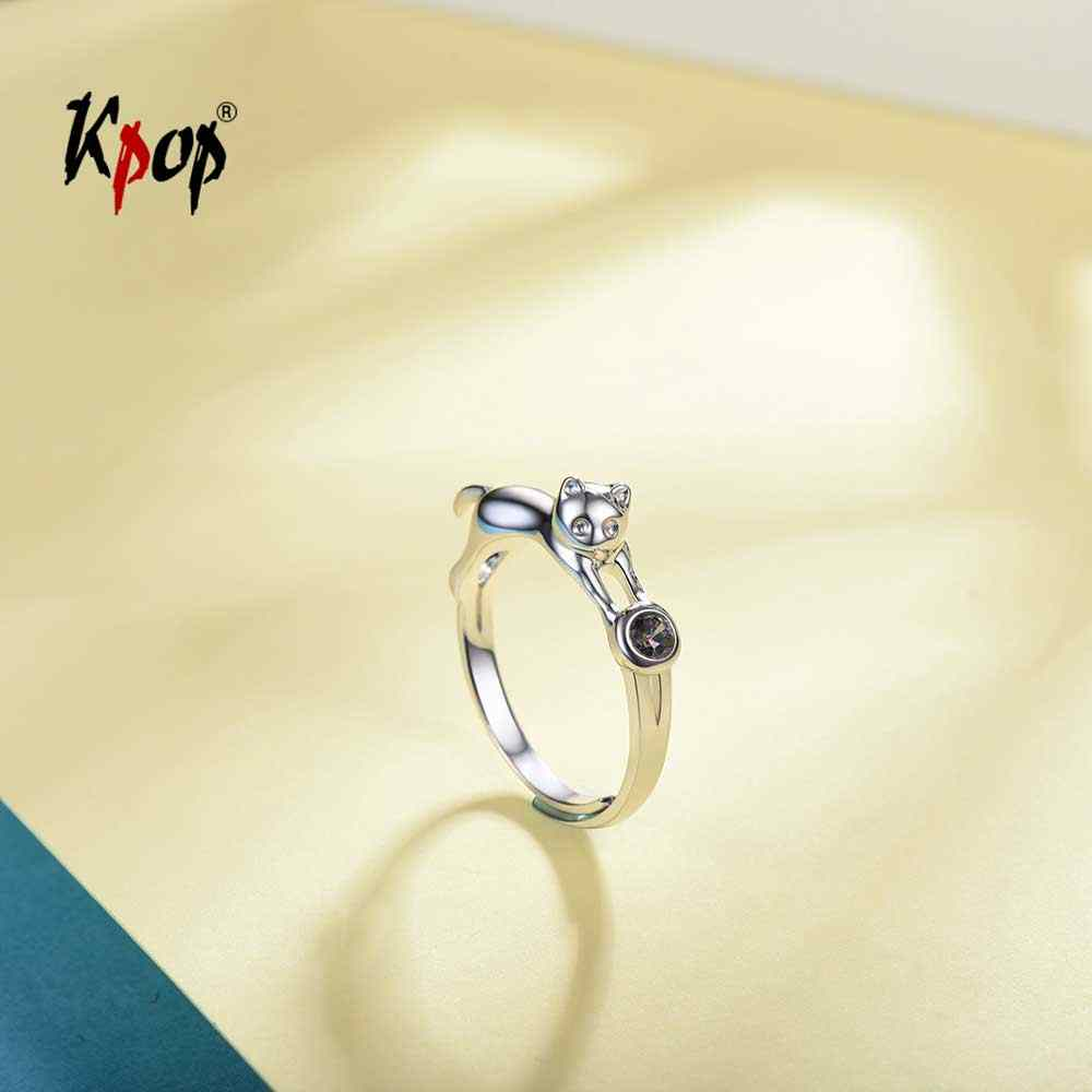 Kpop 925 Sterling Silver Cat Kitty Ring Wedding Bridal Jewelry