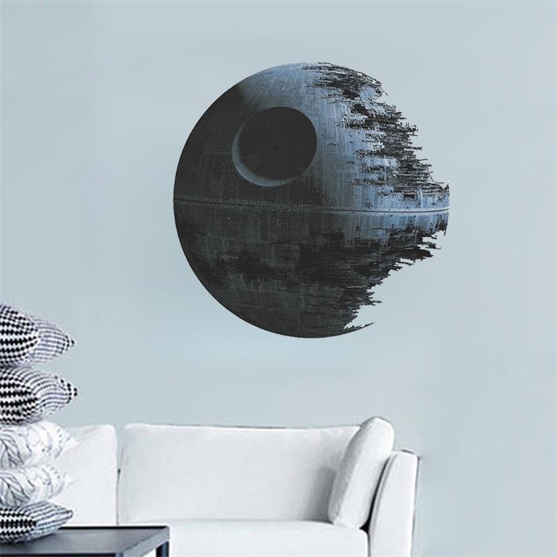 Film star wars death star vinyl art wall stiker decals home decor removable anak nursery decal sticker hadiah penggemar