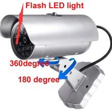 silver color outdoor waterproof imitation CCTV Camera,fake camera w/ LED flashing Simulation Camera dummy camera