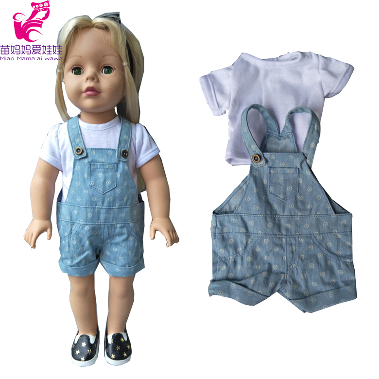 2 in 1 Doll Clothes set for 18 inch 45cm American Girl doll clothes Jean pants+ white shirt fit for 43cm baby doll [mmmaww] christmas costume clothes for 18 45cm american girl doll santa sets with hat for alexander doll baby girl gift toy