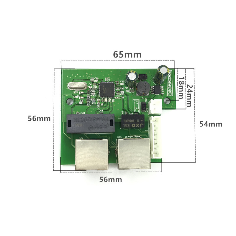 Image 2 - OEM factory direct mini fast 10/100mbps 2 port ethernet network lan hub switch board two layer pcb 2 rj45 1*8pin head port-in Network Switches from Computer & Office