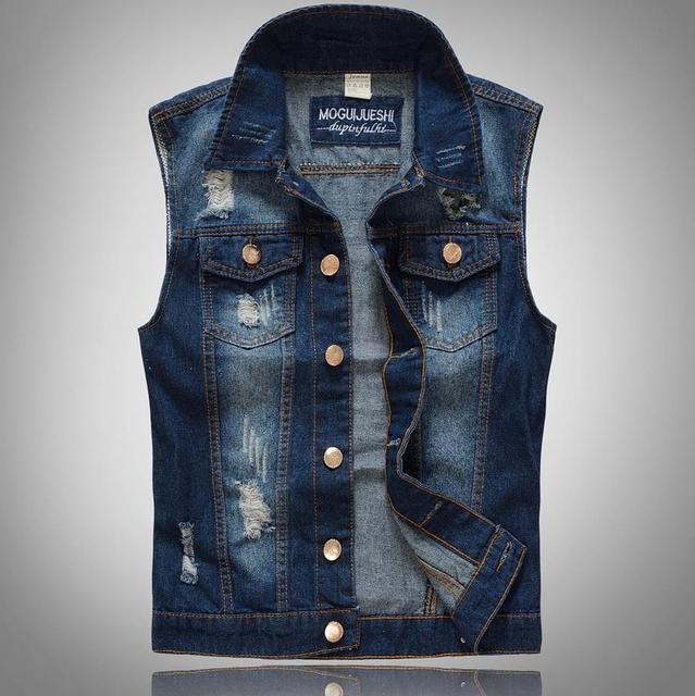 Brand New Motorcycle Vest Men's Denim Vest Letter Casual Waistcoat Fashion Men Patchwork Punk Jean Vest Mens Designer Clothes
