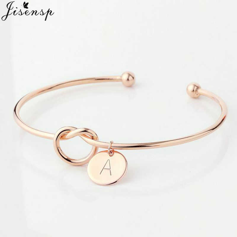 Jisensp Simple Initial Knot Bracelet 26 Letters Bangles for Girlfriends A-Z Charm Bracelets Bridesmaid Opening Bangle Jewelry