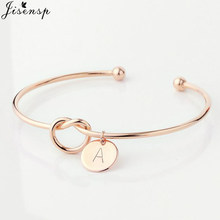 Jisensp Simple Initial Knot Bracelet 26 Letters Bangles for Girlfriends A-Z Charm Bracelets Bridesmaid Opening Bangle Jewelry(China)