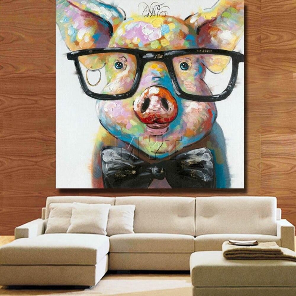 Chinesische Schöne Schwein Ölgemälde Home Decor Wohnzimmer Decor ...