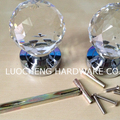1 PAIRs / LOT Free Shipping 60MM CLEAR CUT CRYSTAL DOOR KNOBS DOOR Pull Hardware Furniture Pulls ON  CHROME  BRASS BASE