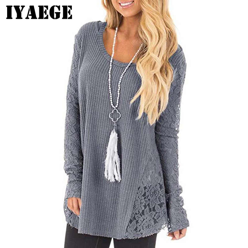 b6de35da1198 IYAEGE 2018 Women Fashion Lace Patchwork Knitted Sweater Casual Long Sleeve  Tops Pullover Sweater Women Jumper