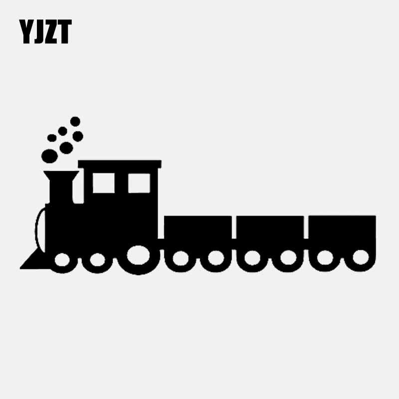 YJZT 15.5CM*6.9CM Steam Train Vinyl Decor Car Sticker Decal Black/Silver C3-1763