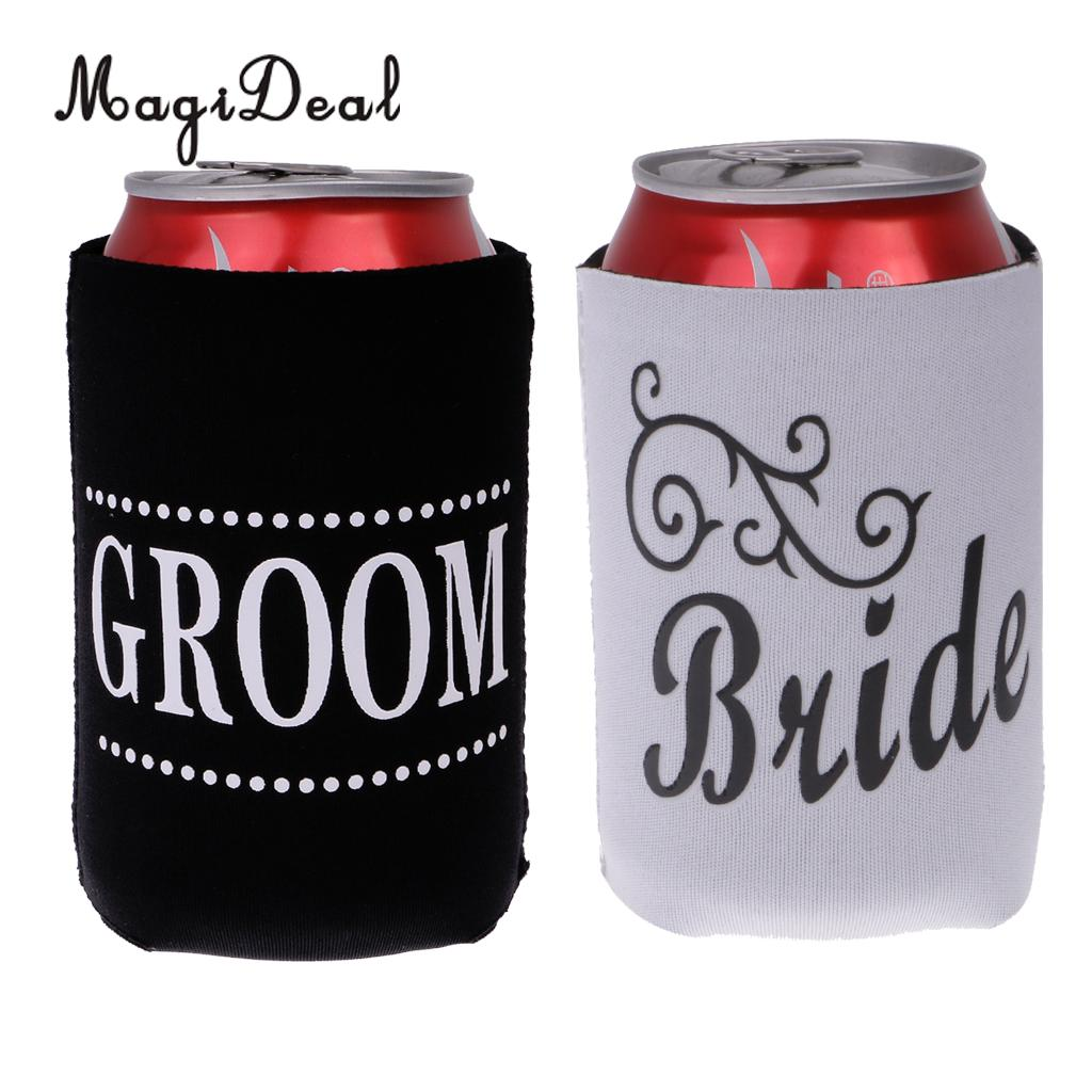 MagiDeal 2pcs Beer Bottle Can Cooler Holder Wedding Party Favors Fathers Day Gift