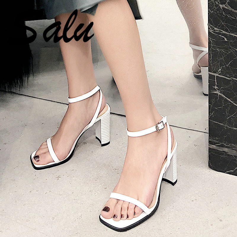 Salu Fashion High Quality Genuine Leather Sandals Gladiator Summer Shoes Woman Ladies Elegant Square High Heel Shoes SandalsSalu Fashion High Quality Genuine Leather Sandals Gladiator Summer Shoes Woman Ladies Elegant Square High Heel Shoes Sandals