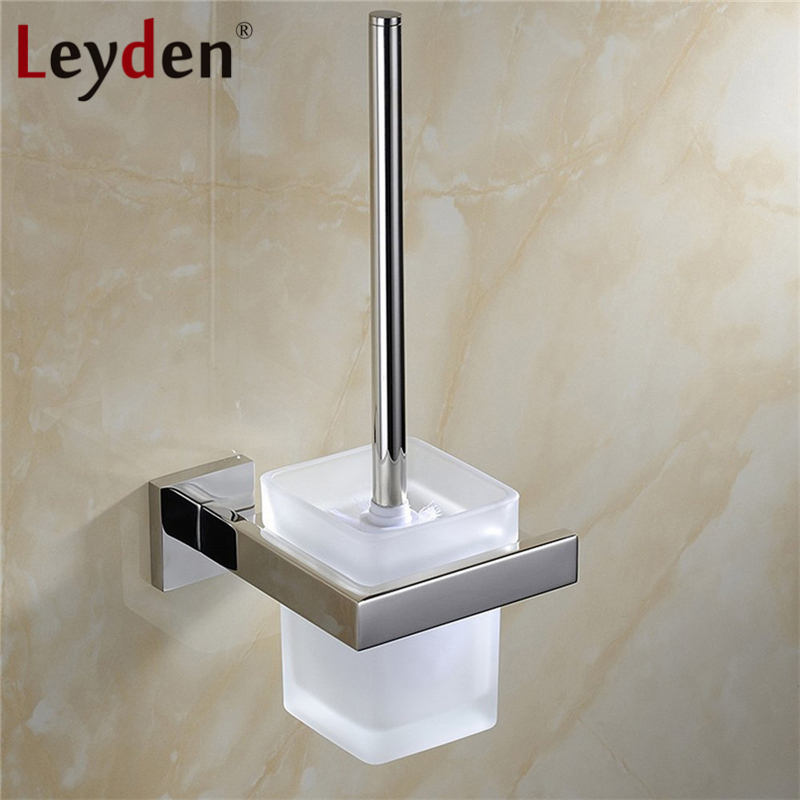 Leyden High Quality Toilet Brush Holder with Glass Cup 304 SUS Stainless Steel Wall Mount Chrome