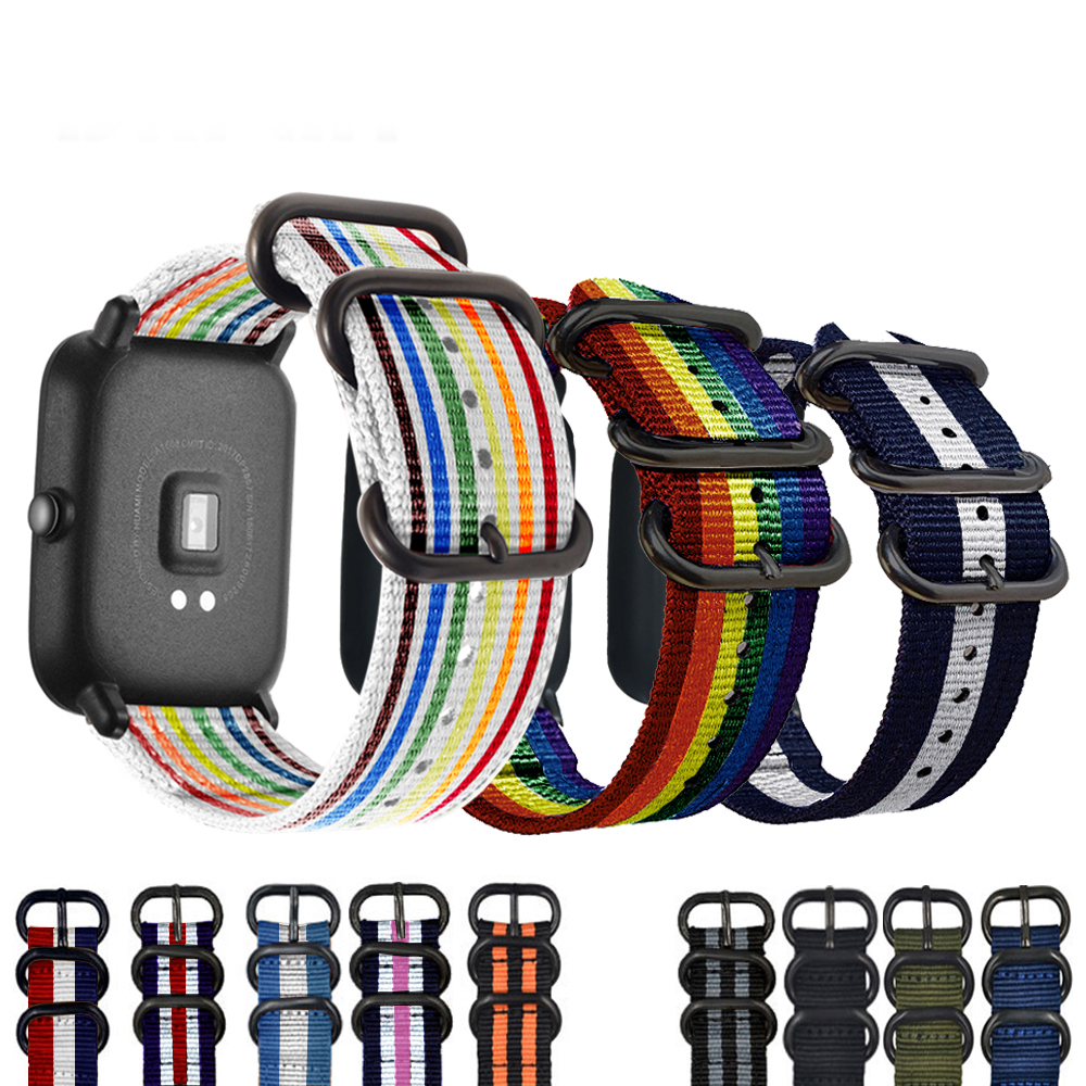 Eastar 20mm Colorful Strap for Xiaomi huami Amazfit Smart Watch Youth Edition Bip BIT PACE Lite band strap fitness bracelet cool magic sticker canvas strap wrist band for huami amazfit bip youth watch fitness tracker fitness braceletdrop shopping