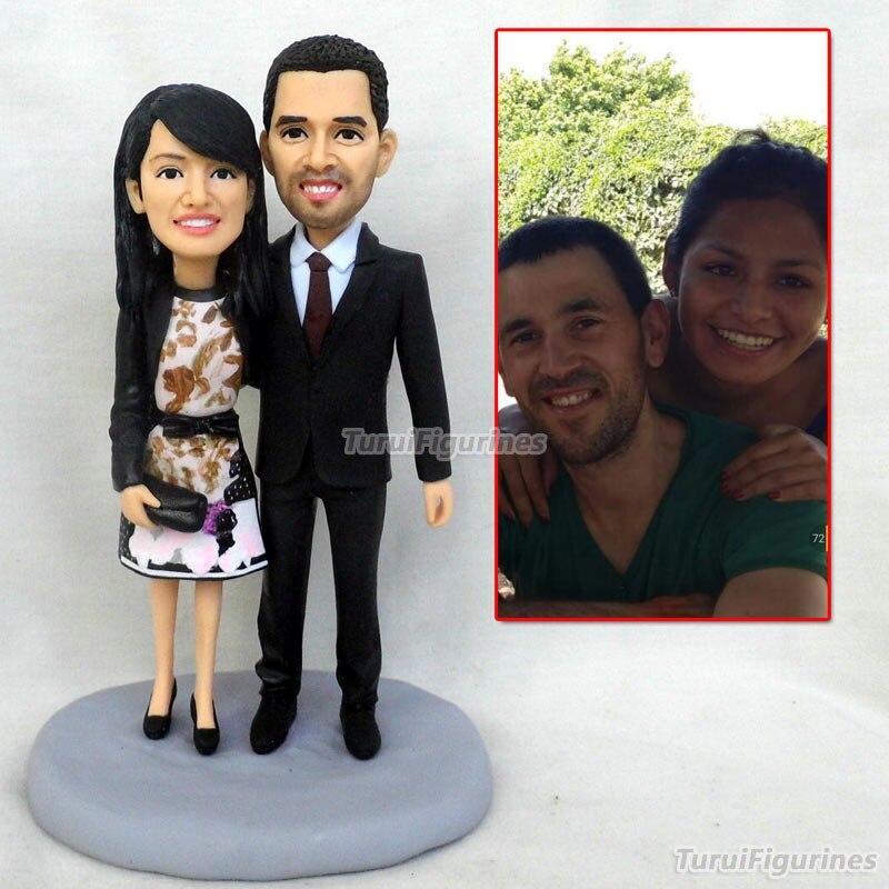 Inde interracial figurine couple amant cadeau personnalisé cadeaux présents pour petite amie son vrai visage sculpture par polymère argile - 6