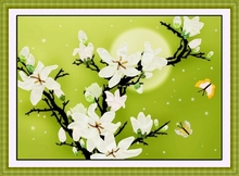 DIY 3D Ribbon Embroidery cross stitch kits sets handmade needlework / Magnolia butterfly Decor Arts picture paintings