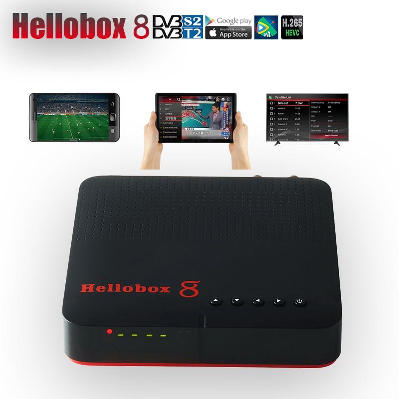 Hellobox 8 récepteur TV DVB-T2/S2 Combo décodeur jouer sur Support de téléphone portable CCCAM jeu extérieur espagne récepteur H.265 10Bit