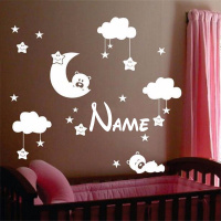 Personalized Name Baby Nursery Room Moon and Star Vinyl Wall Stickers, Cute Smiling Stars with White Clouds Kids Room Decor Art
