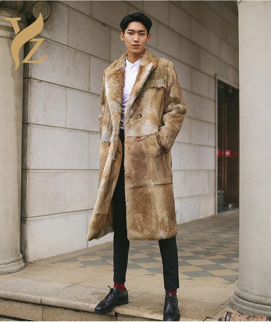 Top Fashion  Real Whole Skin Rabbit Fur Coats Long For Men's Full Pelt Rabbit Fur Coats Overcoat Fur Outerwear Fashion