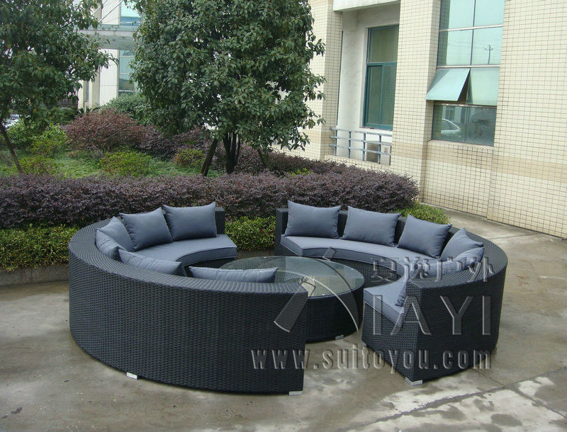 5 Pcs Half Round Wicker Sofa Set PE Rattan Patio Furntiure Pastoralism Home  Indoor