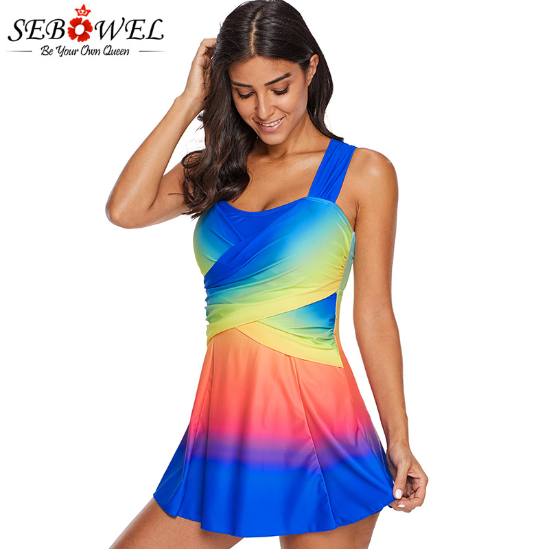 6b32556d13fb8 SEBOWEL Plus Size Ombre Tie Dye Swim Dress With Shorts Women Sexy Two Piece  Tankini Swimsuit Cross Swimwear Bathing Suit Beach