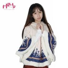 Autumn Winter Women Jacket Japanese Style Mori Girl Cute Cartoon Rabbit Ear Loose Hooded Cape Coat Cotton Casual Cloak Outerwear