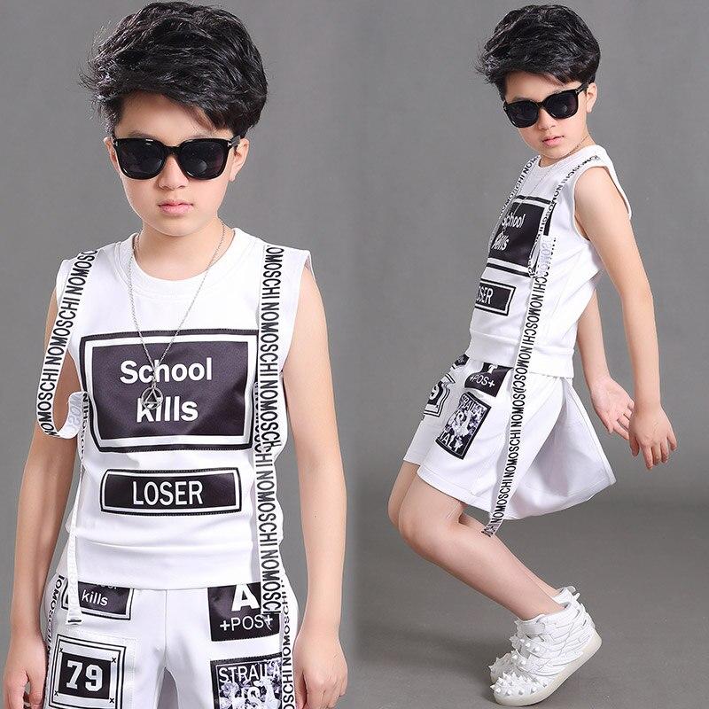 Boys Jazz Hip Hop Dance Costumes Fashion Letters Set New Children'S Drums Street Performance Costumes Boys Handsome Suit DL3959 - 3