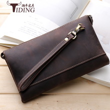 Luxury Male Crazy horse Leather Purse Mens Clutch Wallets Handy Bags Business  Men Brown genuine leather bags
