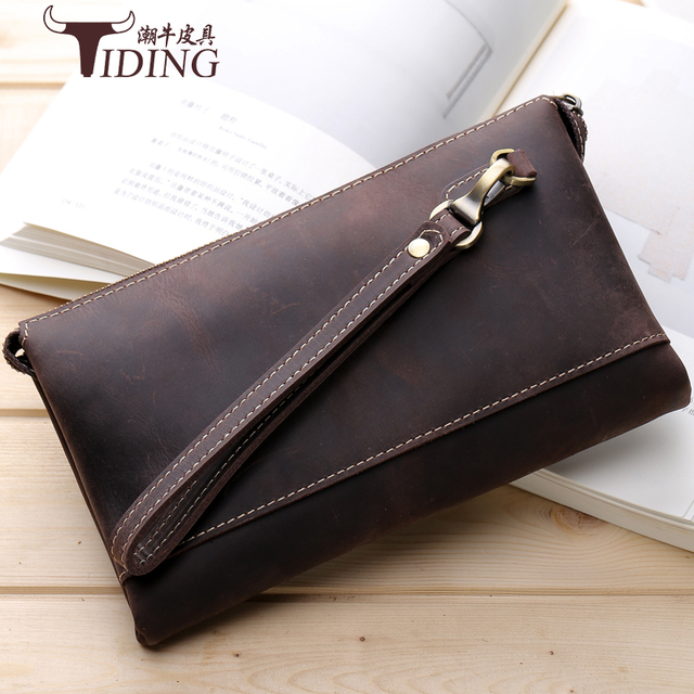 5351a1f451a3 Luxury Male Crazy horse Leather Purse Men's Clutch Wallets Handy Bags  Business Wallets Men Brown genuine leather bags