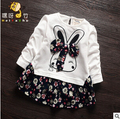 Children white t-shirt girls bottoming shirt Spring and Autumn long-sleeved dress style jacket 1half years old female baby