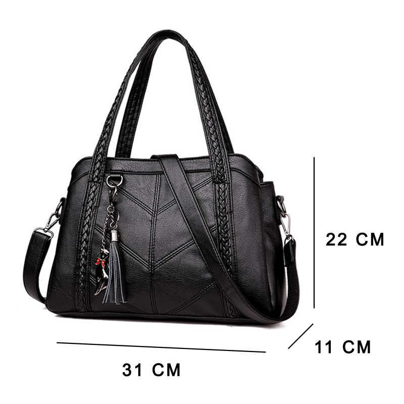 Bolsa feminina de couro, bolsa feminina de luxo feita em couro, estilo carteiro, casual, de ombro
