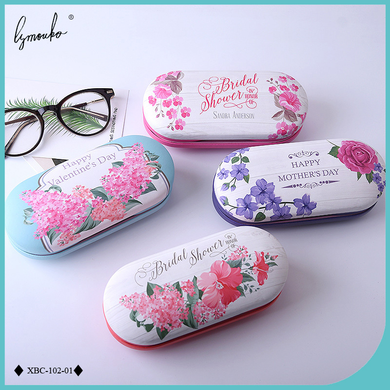 d52df4cdac7 Online Shop Lymouko Picturesque Double Interlayer with Mirror Metal Contact  Lens Case for Kit Holder Box Dual Leather Reading Glasses Case