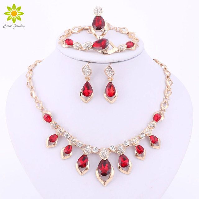 Fashion BlackRedPurple Crystal African Costume Jewelry Set For