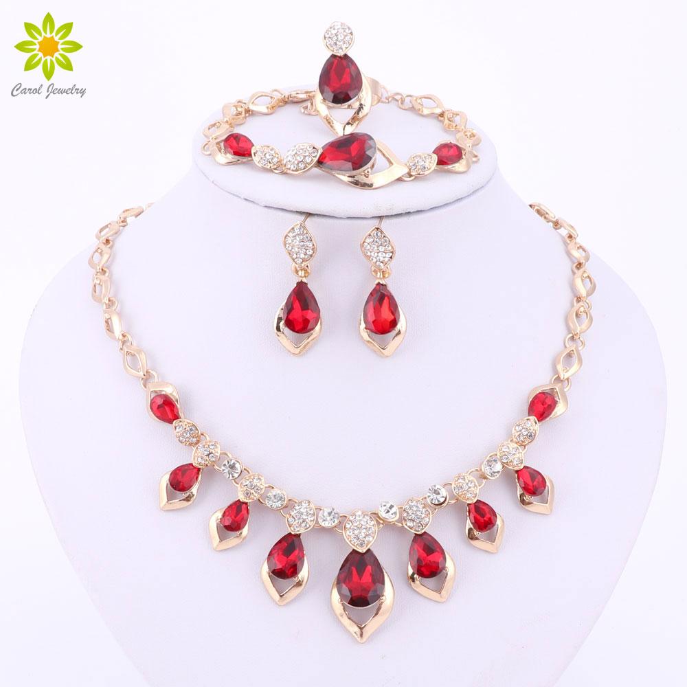 9368e0cb2d00 Moda negro rojo púrpura cristal africano traje joyería conjunto para mujer  Color oro boda collar pendientes pulsera anillo conjunto
