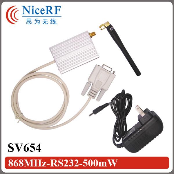 2 sets 868 MHz 500 mw SV654 DB9 RS232 transmisor inalámbrico y el receptor