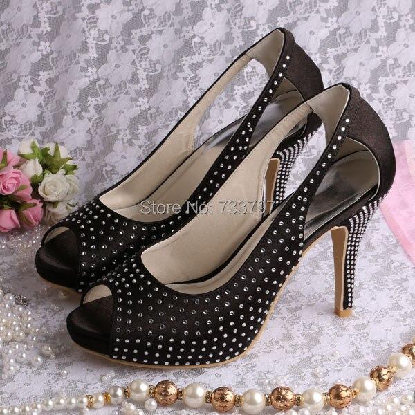 ФОТО Wedopus High Quality Satin Platform Shoes for Women Summer Big Cutout Strass Wedding Sandal Black