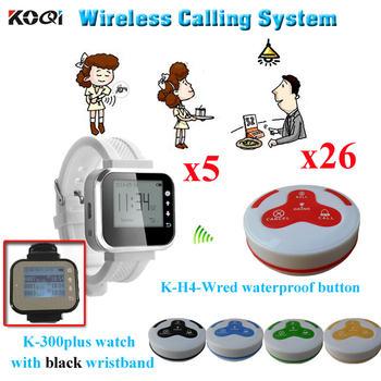 Table Paging System Competitive Price Transmitter Pagers For Restaurant ( 5pcs Water Receiver + 26pcs Waterproof Buzzer Bell )