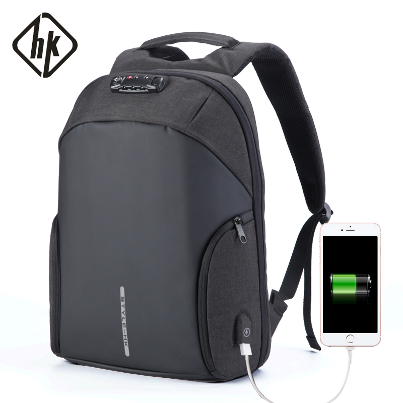Anti Theft Backpack Male Laptop Computer Bag 15.6 Notebook Back Pack Waterproof Men Travel Bags PVC Large USB Charge Black Grey new products 2016 black laptop camera back pack bag waterproof travel hiking camera backpack bags cd50