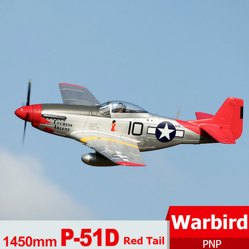FMS RC Airplane 1450mm 1 4M P51 P 51D Mustang Red Tail Newest V8 PNP Radio