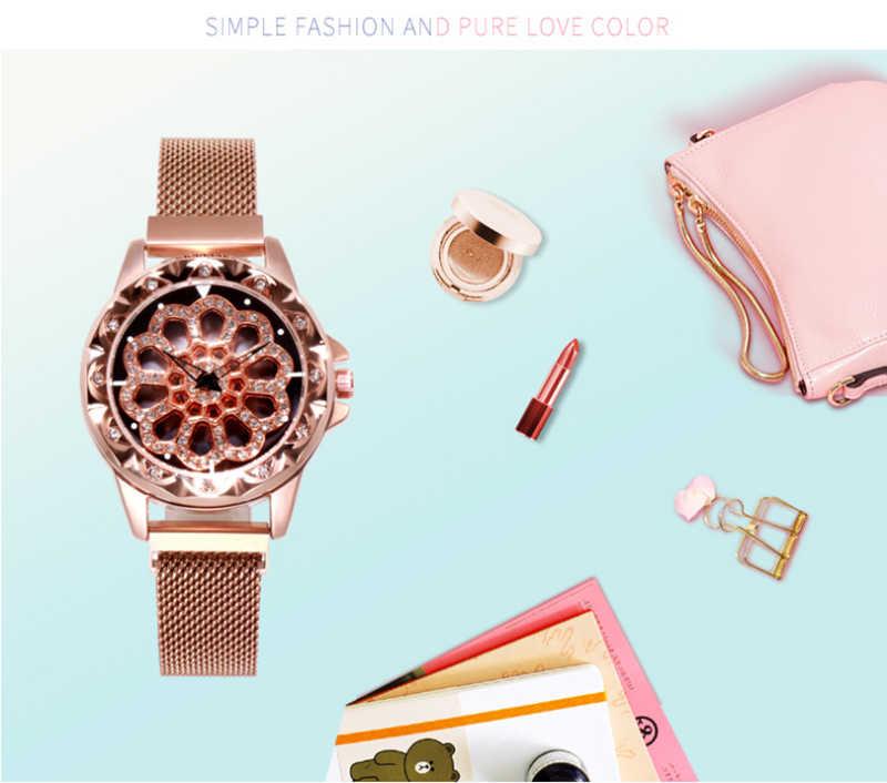 Top hot be in good luck ผู้หญิงนาฬิกาข้อมือแฟชั่นตาข่ายเข็มขัดสองแหวนพิเศษนาฬิกาควอตซ์ rose gold /สีม่วงนาฬิกา